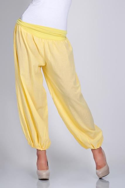 spodnie alladynki kolor żółty